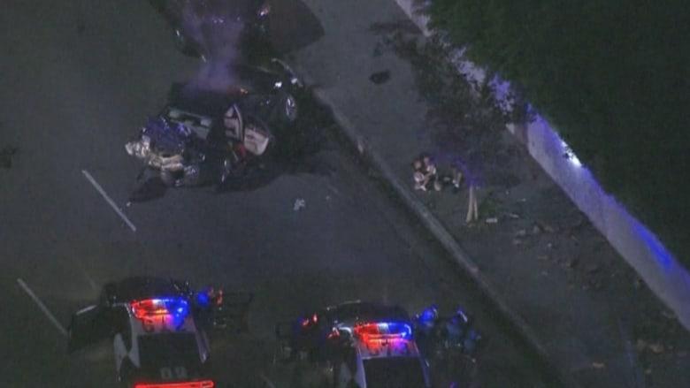 بالفيديو.. مطاردة في لوس أنجلوس تنتهي بحادث تصادم متسلسل