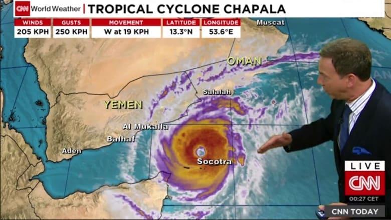 أرصاد CNN: إعصار تشابالا غير الاعتيادي يتجه لليمن وعُمان.. الأقوى منذ 1945 وسيضرب بأمطار تعادل 6 سنوات