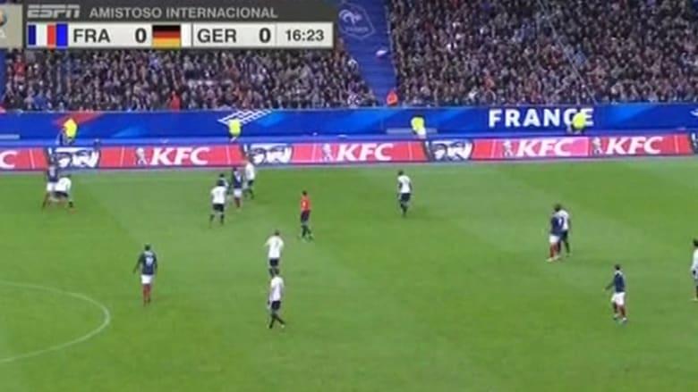 بالفيديو.. أصوات الانفجارات خارج الملعب خلال مباراة فرنسا وألمانيا