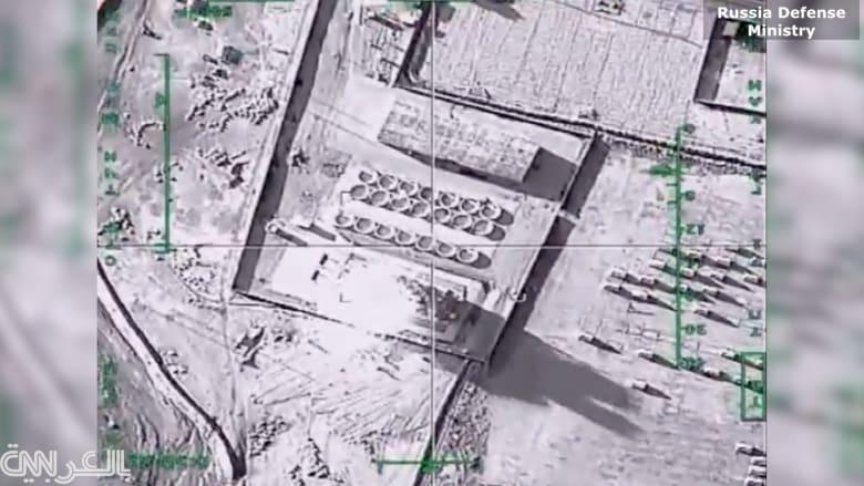 بالفيديو.. لحظة استهداف الطيران الروسي لمنشآت نفطية تابعة لداعش في الرقة