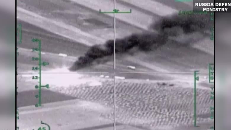 بالفيديو.. شاهد لحظة استهداف مقاتلات روسية مواقع داعش في سوريا