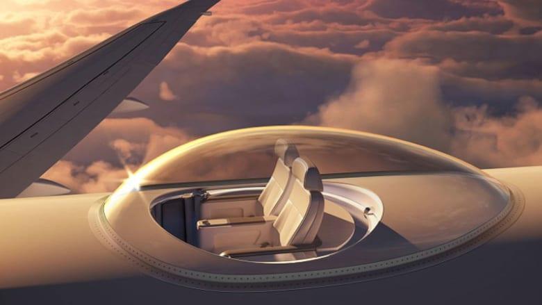 آخر صيحات الطيران..حجرات شفافة على سطح الطائرة لرؤية السماء بمشهد بانورامي