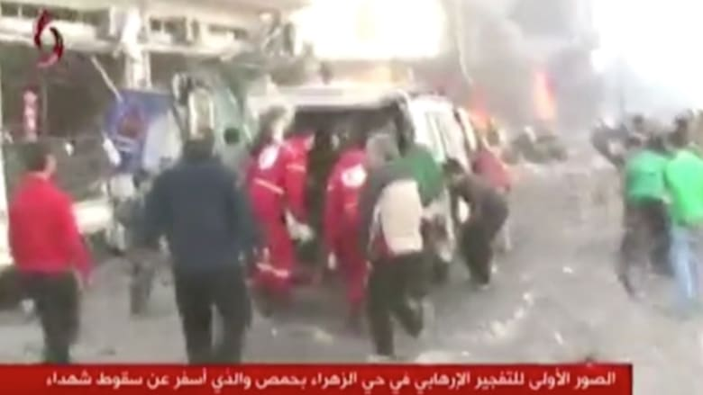 شاهد.. اللحظات الأولية بعد تفجيرين في حي الزهراء وسط حمص