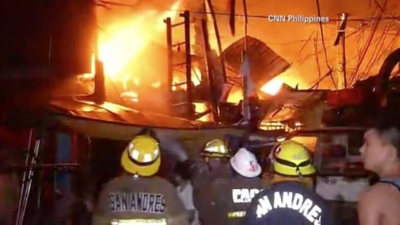 بالفيديو: حريق يمتد إلى ألف منزل في العاصمة الفلبينية في أول أيام العام الجديد