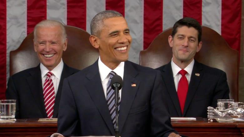 """بالفيديو.. أبرز اللحظات الطريفة في آخر خطاب عن """"حالة الاتحاد"""" لأوباما"""
