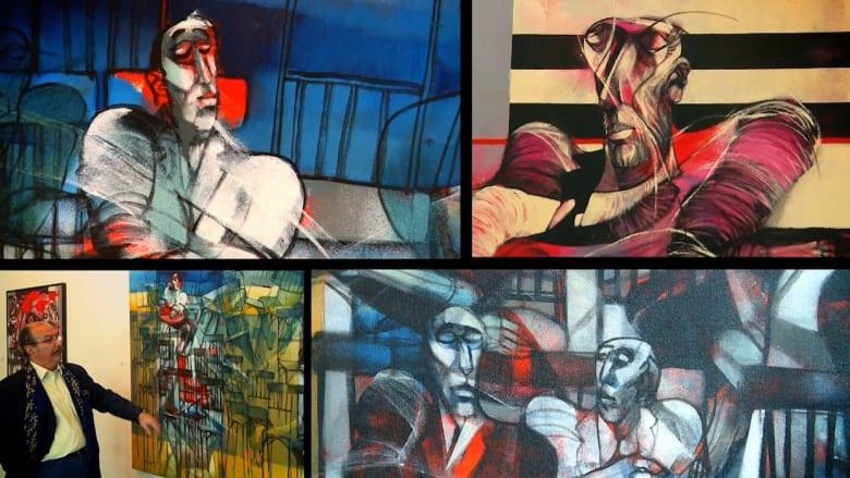 بضربات فرشاة ولوحات ناطقة.. فنان حلبي يرسم معاناة السوريين في الحرب