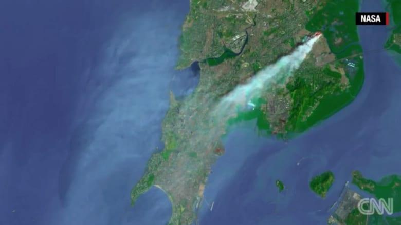 شاهد من الفضاء الخارجي .. حريق في أقدم مكب للنفايات في الهند