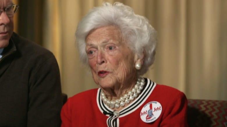 بالفيديو: باربرا بوش لـCNN: دونالد ترامب سبب لي المرض