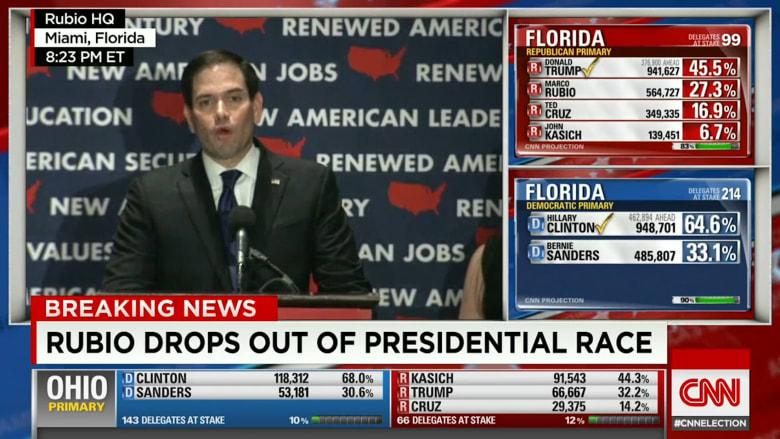 بالفيديو: ماركو روبيو ينسحب من الانتخابات الأمريكية