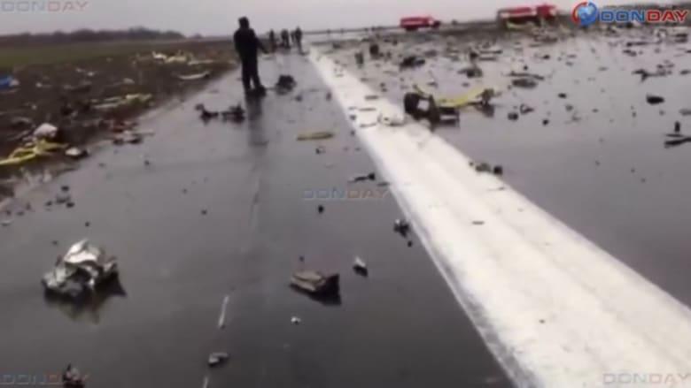لقطات من مدرج المطار بعد تحطم طائرة فلاي دبي في روستوف