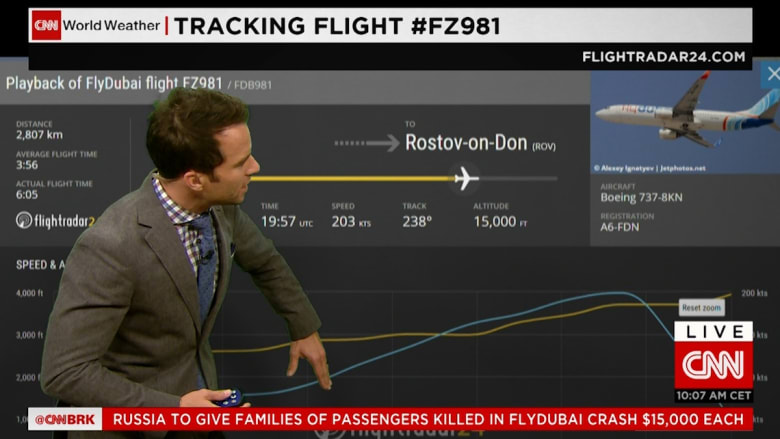 """بالفيديو: تفاصيل آخر 60 ثانية لطائرة """"فلاي دبي"""" عبر سجلات """"فلايت رادار"""""""