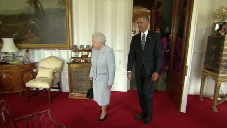 بالفيديو: أوباما يدعو بريطانيا للبقاء في الاتحاد الأوروبي.. والملكة اليزابيث تستضيفه على الغداء