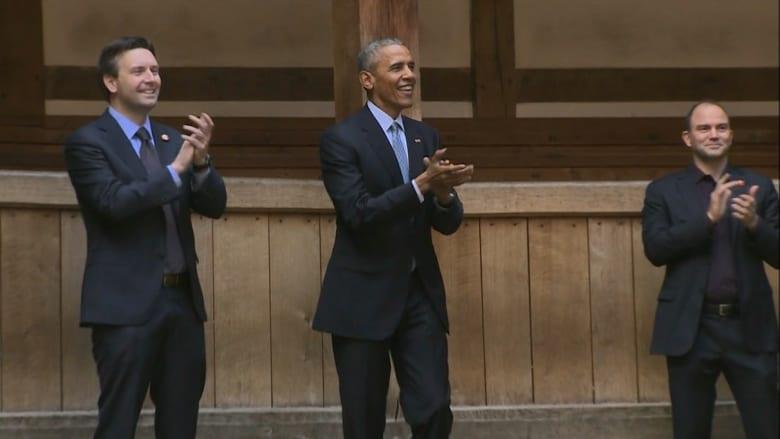 """أوباما يحيي الذكرى الـ 400 لوفاة شيكسبير في مسرح """"غلوب"""" في لندن"""