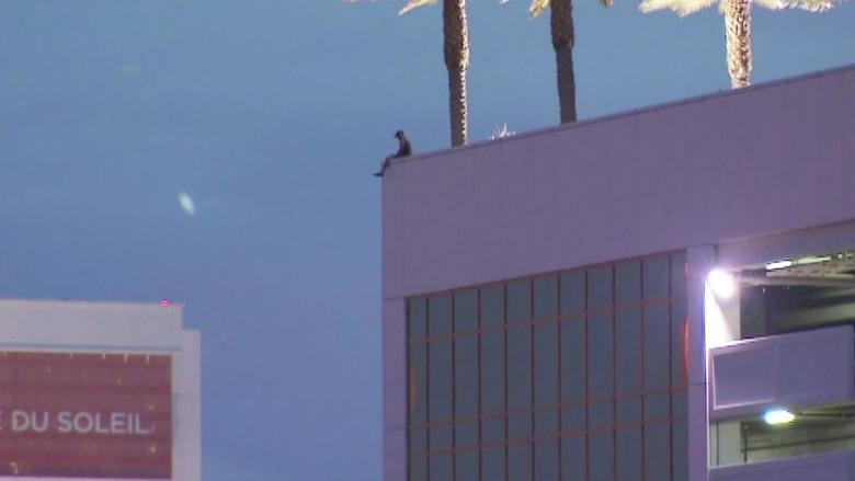 شاهد.. رجل يجلس على حافة برج فندق ترامب الشاهق والشرطة تفاوضه