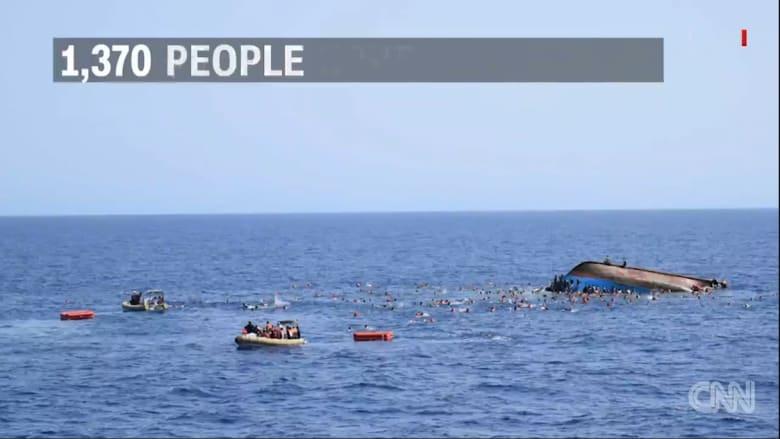 بالفيديو: انقلاب سفينة مهاجرين في المتوسط ووفاة خمسة أشخاص