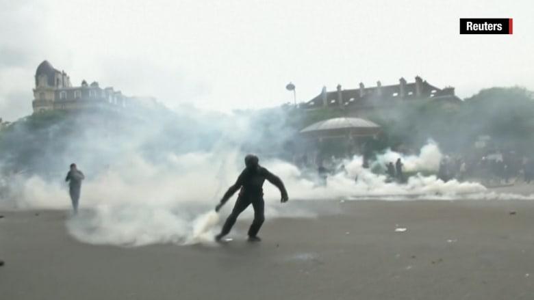 بالفيديو: مظاهرات بفرنسا ضد قوانين العمل تصل لمرحلة عنيفة