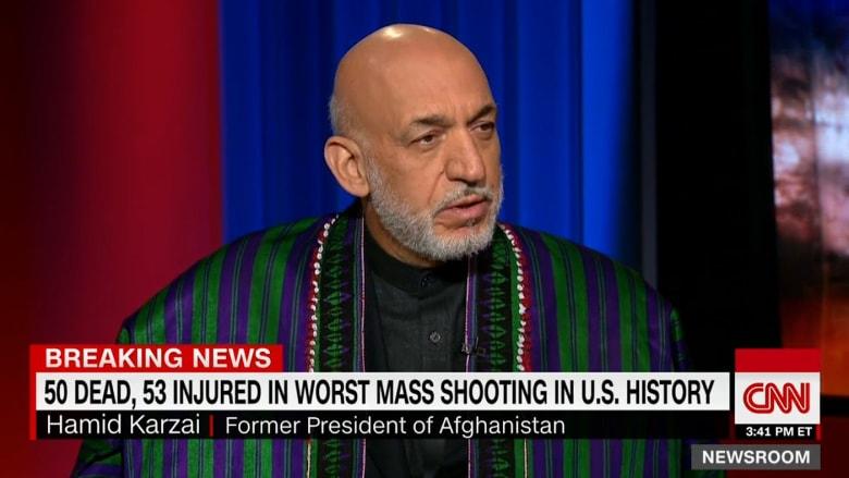 حامد كرزاي: نقف مع الشعب الأمريكي وندين بأشد العبارات هجوم أورلاندو