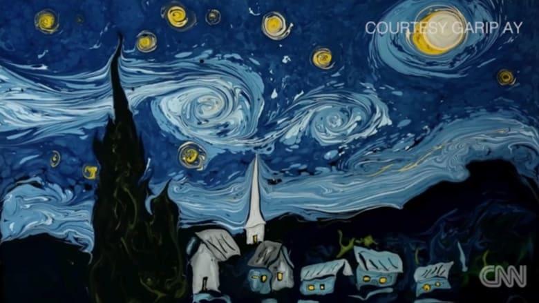 بدقيقة واحدة: شاهد إحدى أشهر اللوحات الفنية ترسم على سطح المياه