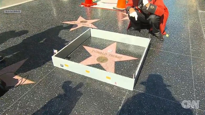 بالفيديو: جدار صغير حول نجمة ترامب على ممشى المشاهير في هوليوود