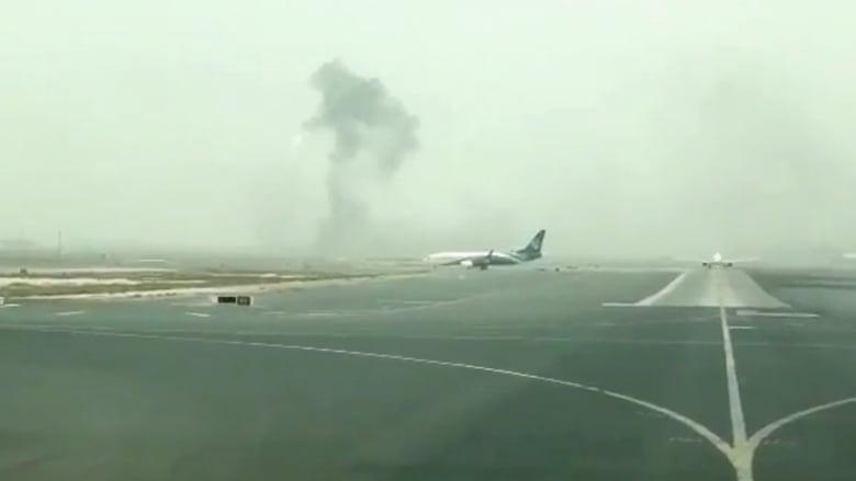 المشاهد الأولى لحادث رحلة طيران الامارات في مطار دبي