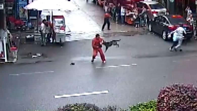"""شاهد.. كلب """"مسعور"""" يهاجم أكثر من عشرين صينياً في الشوارع"""