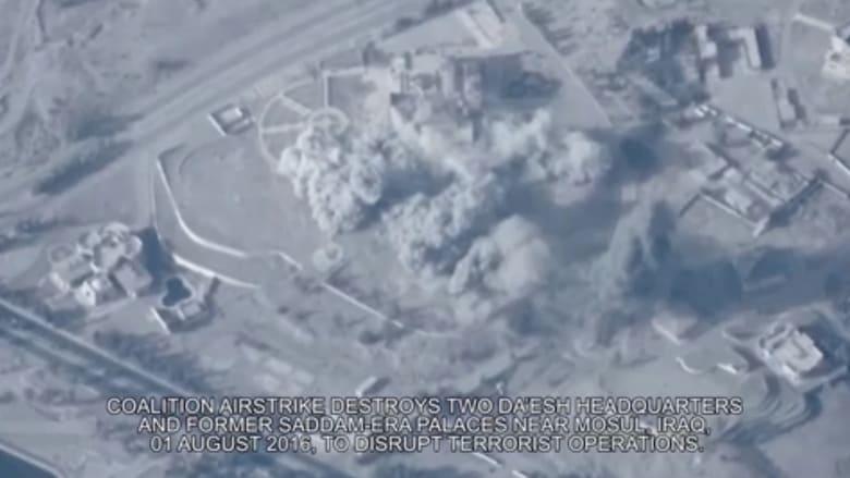 شاهد.. لحظة تدمير قصر لصدام حسين بالموصل يستخدمه داعش مقراً له