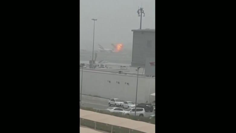 شاهد.. لحظة نشوب الحريق في طائرة تابعة لطيران الإمارات في مطار دبي
