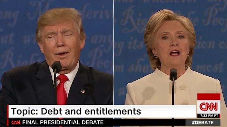 """ترامب ينعت كلينتون بـ""""المرأة الكريهة"""" خلال مناظرة الرئاسة الأمريكية"""