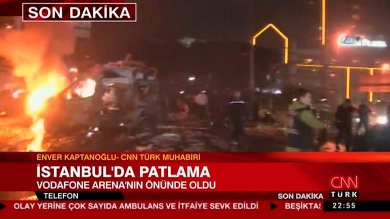 شاهد.. اللحظات الأولى بعد انفجارين قرب استاد بشكتاش في إسطنبول