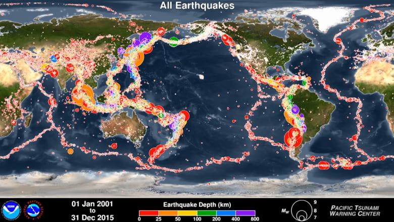 شاهد.. 15 عاماً من الزلازل في 45 ثانية