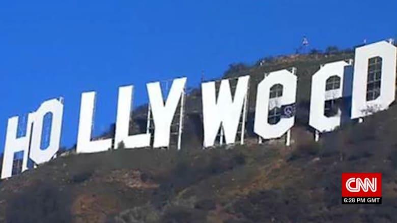 """مقلب يغير إشارة """"هوليوود"""" لتصبح مروّجة للحشيشة"""