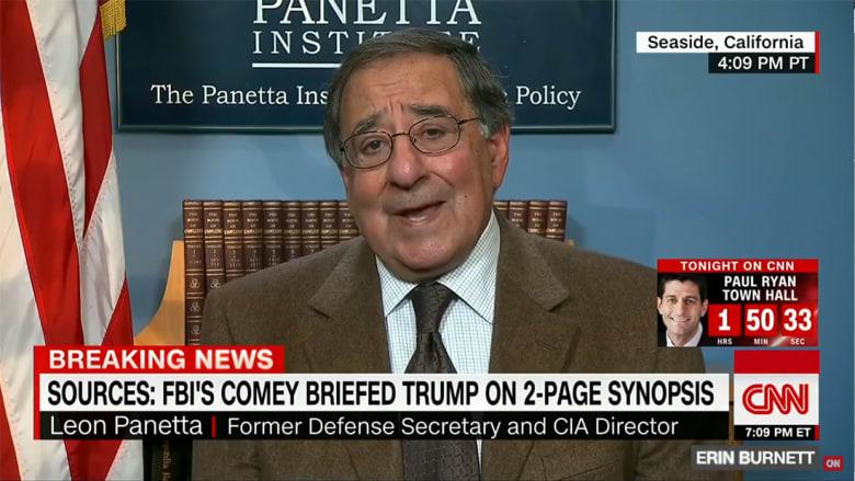 """بانيتا يعلق لـCNN على اتهام ترامب للـCIA بنشر شائعات عن """"كومبرومات"""" روسي ضده"""