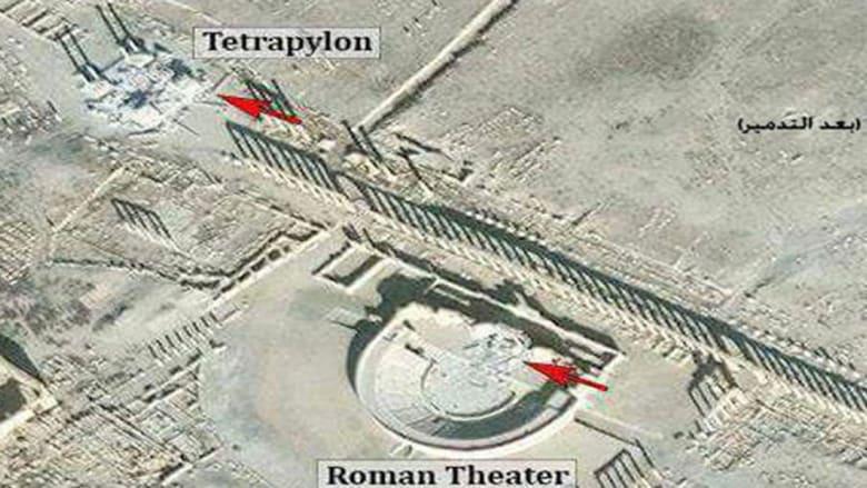 التلفزيون السوري: داعش دمر واجهة المسرح الروماني في تدمر