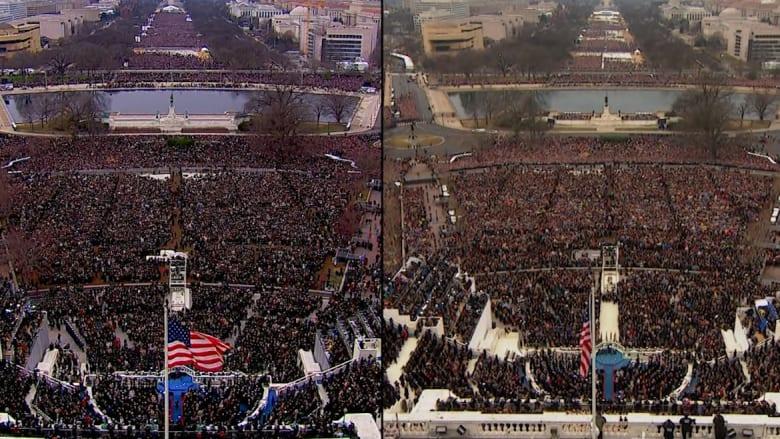 شاهد.. فرق حجم الحشود بين تنصيب أوباما وتنصيب ترامب