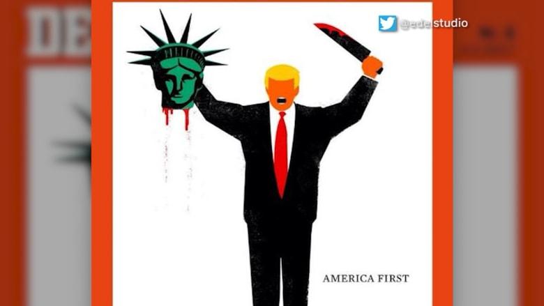 مجلة ألمانية تعرض رسما لترامب وقد قطع رأس تمثال الحرية