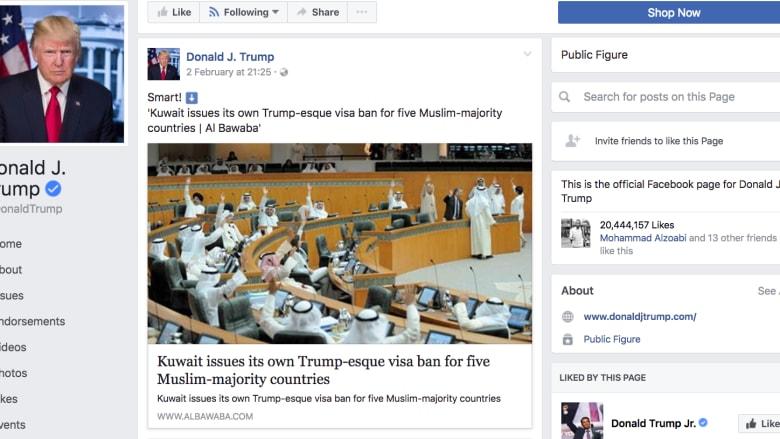 ترامب ينشر خبراً خاطئاً بحظر الكويت لبعض الجنسيات