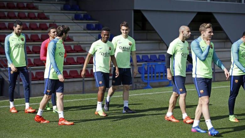 كيف كانت تدريبات برشلونة قبل موقعة باريس سان جيرمان