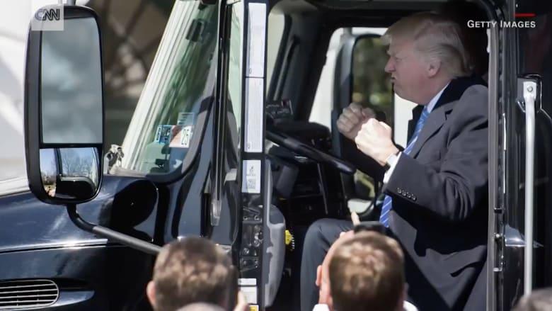 شاهد.. ترامب على متن شاحنة