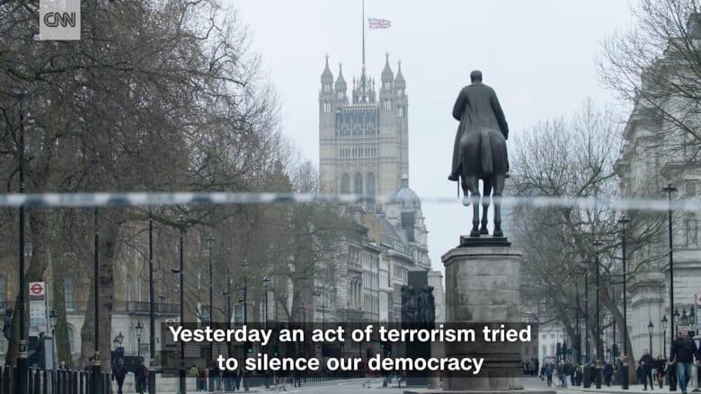 ما قالته ماي بخطابها المؤثر عقب هجوم برلمان بريطانيا