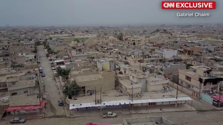 حصرياً على CNN.. لقطات من طائرة بدون طيار للدمار في غرب الموصل