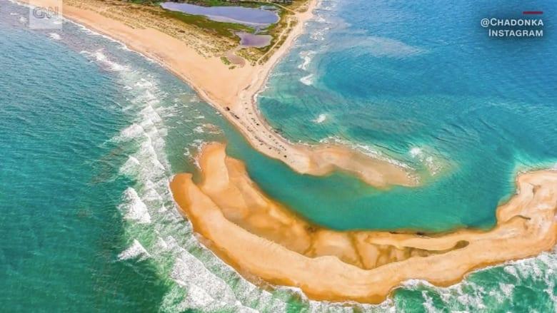 شاهد.. جزيرة تظهر فجأة قبالة سواحل كارولينا الشمالية