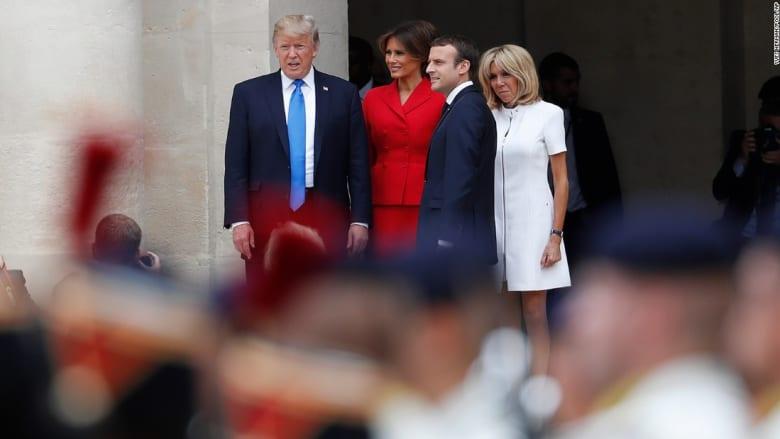 ترامب لزوجة الرئيس الفرنسي: هيئتك جيدة جدا.. جميلة