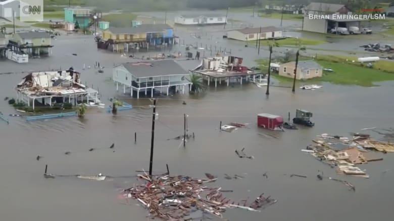"""شاهد.. لقطات من طائرة دون طيار لآثار الإعصار """"هارفي"""""""