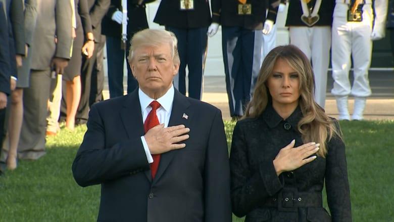 ترامب وميلانيا يؤديان دقيقة صمت على ضحايا هجمات سبتمبر