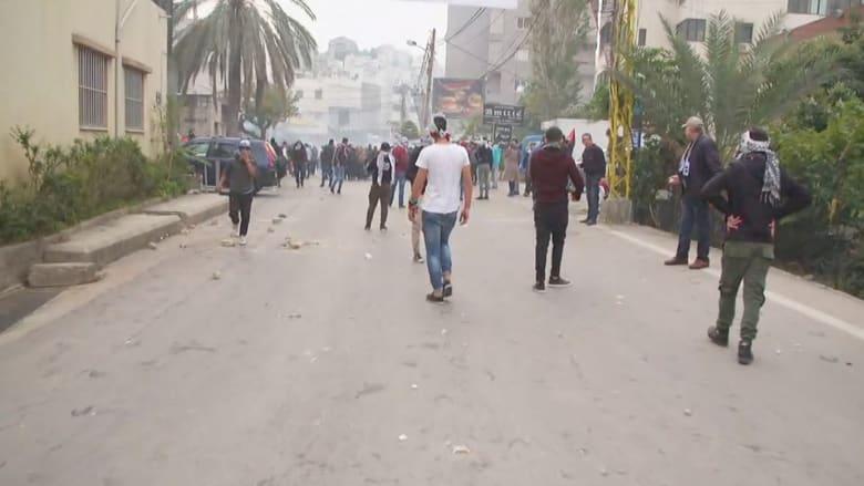 شاهد.. اشتباكات بين متظاهرين وقوات الأمن قرب السفارة الأمريكية بلبنان
