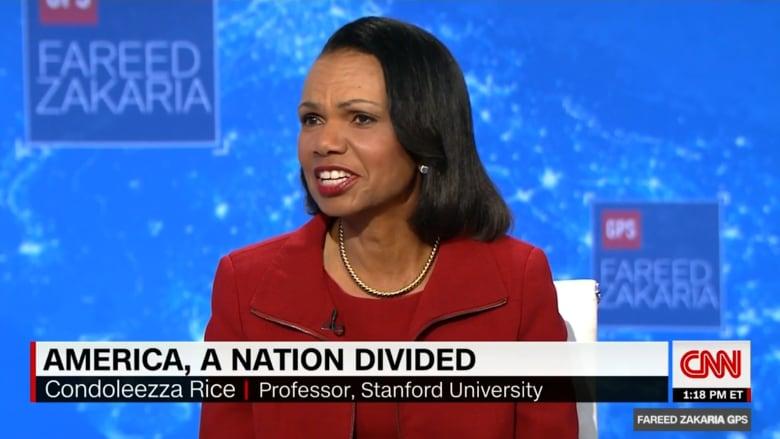 كونداليزا رايس: أمريكا تعاني الانقسام