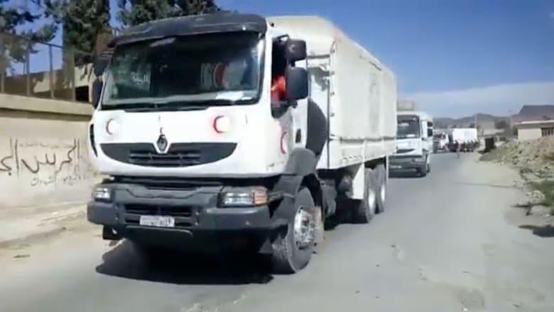 قصف عنيف على دوما بعد دخول قافلة مساعدات إنسانية