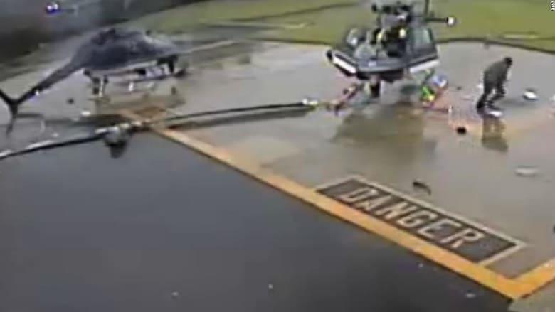 شاهد.. لحظة تصادم عنيف بين طائرتين مروحيتين في أمريكا