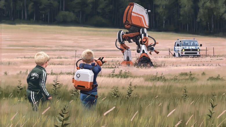 """شاهد..""""مركبات فضائية"""" و""""ديناصورات"""" تجتاح قرية في السويد"""