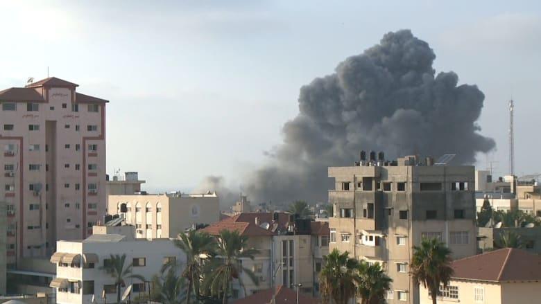 شاهد.. لحظة استهداف مركز سعيد المسحال الثقافي في غزة
